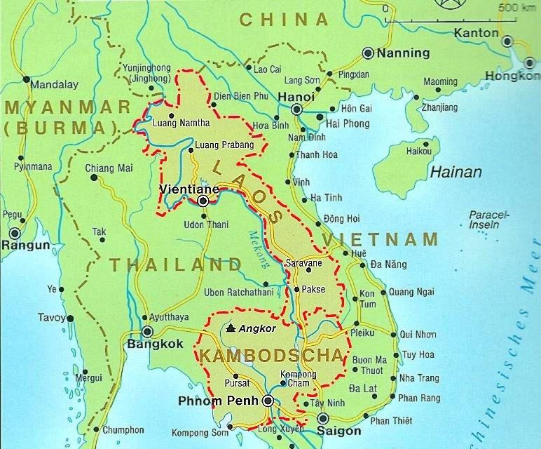 Karte Thailand Kambodscha.Laos Kambodscha 2010